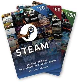 🚚 Steam Gift Card 20/50/100 USD = 27/68/136 SGD