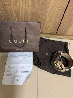 四折發售接近全新gucci belt monogram 皮帶 古馳 100%真