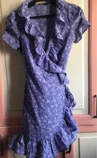 Lavender wrap ruffle dress