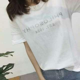 free mail* Silver letter t-shirt