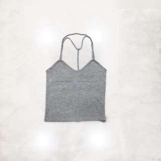 grey halter crop top ; ribbed