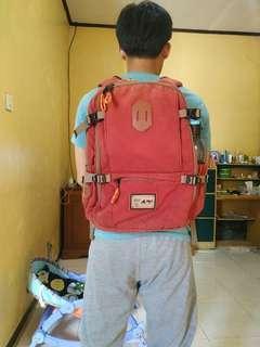 Backpack Rei Outdoor Maroon bahan Canvas