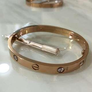 Cartier Love Bangle Bracelet (Rose Gold Colour with Diamond)