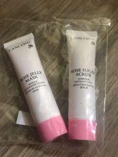 Lancôme rose jelly mask and scrub