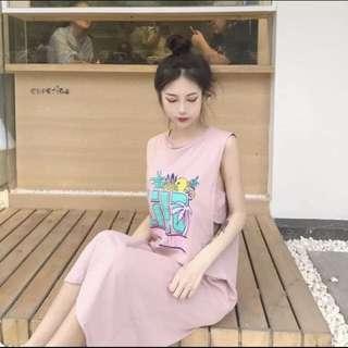 🚚 現貨 韓妞 韓 百搭 背心 洋裝 假兩件式長版背心