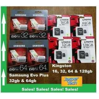 🚚 Samsung & Kingston Micro SD Card - 16gb, 32gb, 64gb & 128gb - Free SD Adaptor