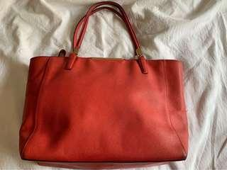 Coach Orange Leather Zip Tote Bag (Pre-Loved)