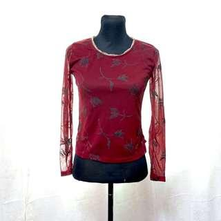 Top 2: Vintage maroon top with velvet print