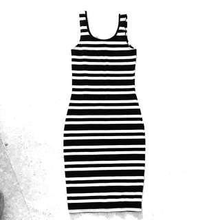 CO striped monochrome bodycon dress