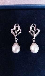 925 sterling silver freshwater pearl drop earring