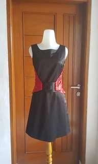 Dress Kalea Black with Belt Red