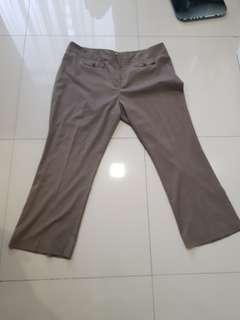 Plus Size Brown Striped Work Pants