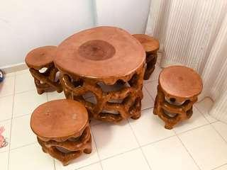 Wooden Stools with table