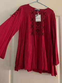 BNWT Peniwern red embroidered boho top