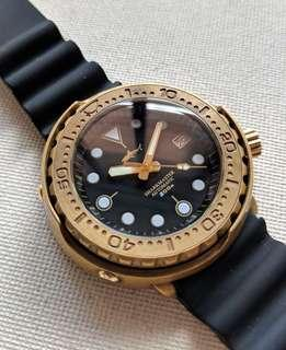 Bronze Seiko Tuna Can Automatic Diver Homage with Marine Master MM300 Gold Hands Upgrade
