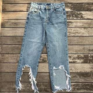 THE EDITORS MARKET RIPPED JEANS