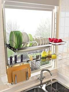 全新廚房置物架不銹鋼(不用釘窿)NEW stainless steel Kitchen Shelf