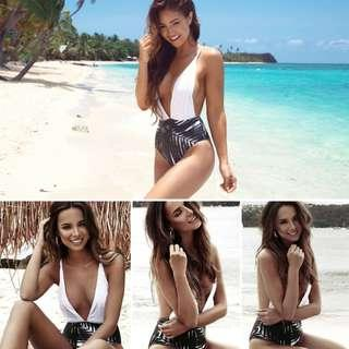Womens Swimming Leaves Printed Monokini One Piece Tropical Summer Beach