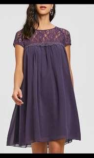 Black babydoll style dress with lace
