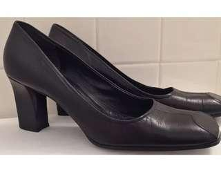 Vintage Prada Heels Matte Leather Modern Square Toe