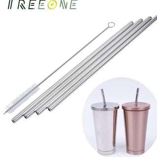 Environmental Friendly Reusable Stainless Steel  Straws with Cleaning Brush