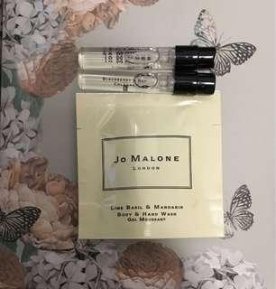Jo Malone Basil & Neroli Blackberry & Bay Cologne sample Lime Basil & Mandarin Body & Hand Wash 7ml