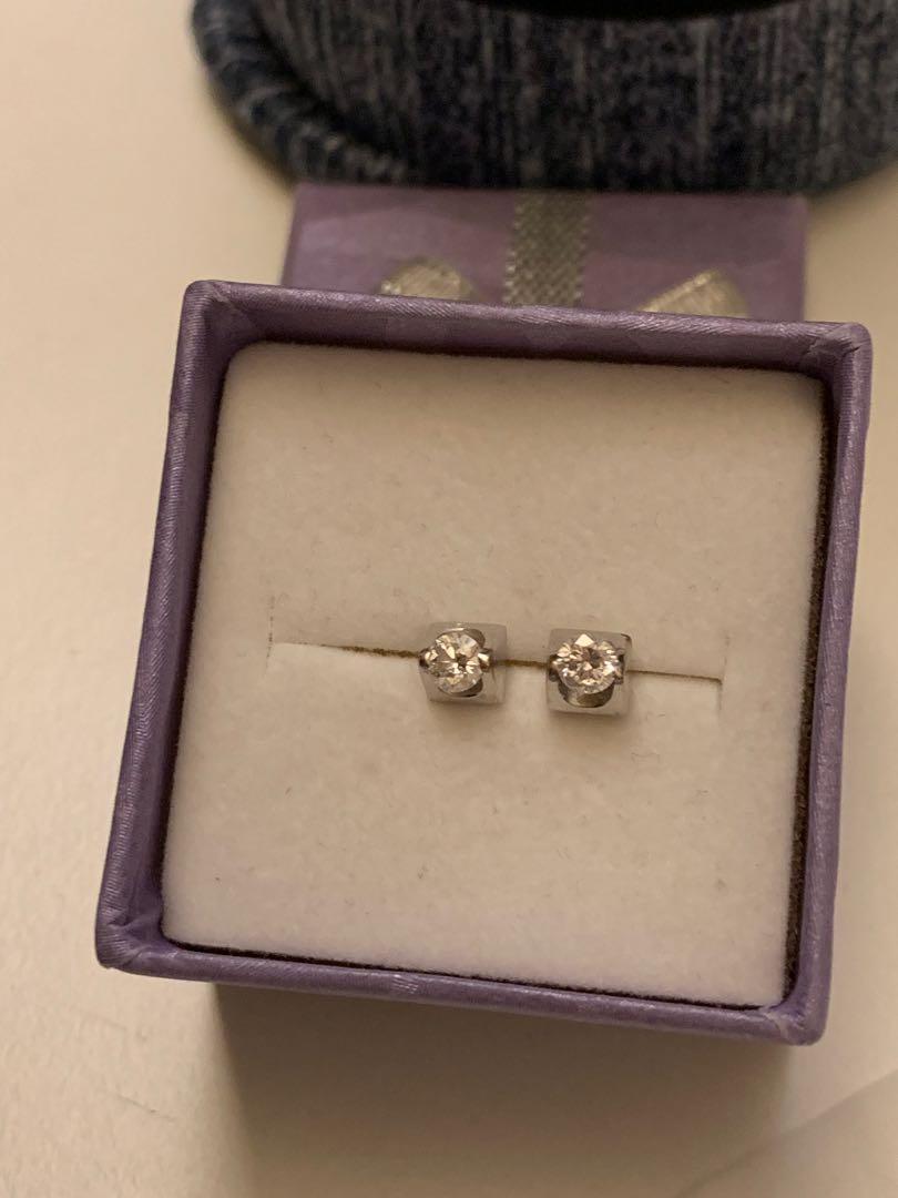 18K白金0.244卡鑽石耳環