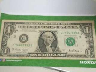 US One Dollar 2001 Banknote extremely rare printing error