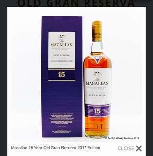 2017 Macallan 15 Gran Reserva