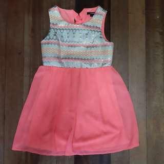 Neon w/ aztec print dress