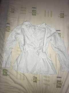 White blouse with vertical stripes