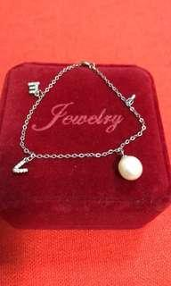 S925 LOVE bracelet with a nice real pearl