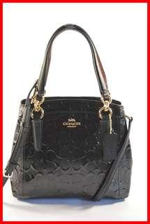 ORIGINAL Coach Bag Minetta Black Signature Patent Leather Satchel Bag Brand New and Complete Inclusion Free Shipping and Express Shipping Nationwide
