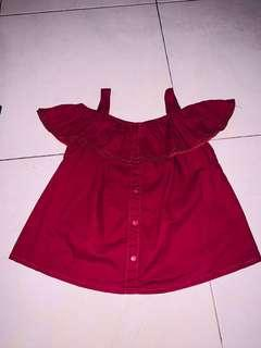 Off Shoulder Blouse Colorbox Maroon Size S