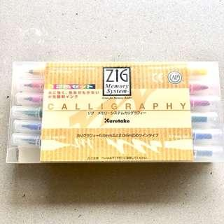 ZIG Memory System Calligraphy Pen Set 12 Colours Dual Tip Made in Japan