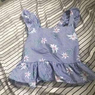 Daisy Baby Blue Ruffle Sleeves Top