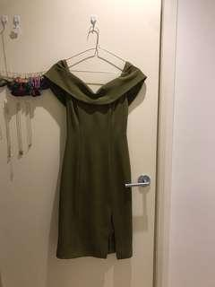Kookai khaki off-shoulder dress