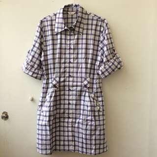 紫色格紋運動風長版七分袖襯衫
