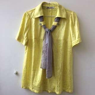 🚚 黃色亮面棉紗長版上衣
