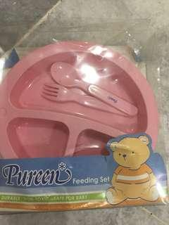 Pureen Feeding set (pink) with cutlery