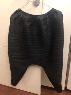 Pleat pants 7/8 navy blue