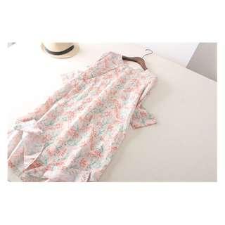 麻料印花圖案連身裙 蝦粉色細麻印花2019年夏季