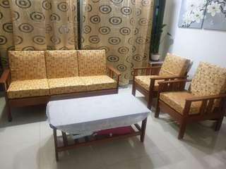 Wooden sofa set w/ tea table