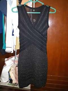 Bandage Bodycon Dress (glittery black)