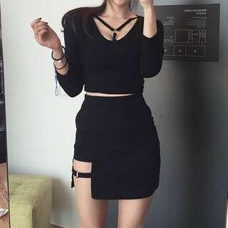 🚚 Black Cut Out Skirt
