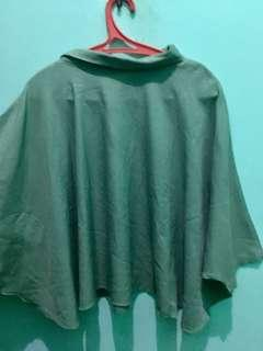 Blouse green turtle neck