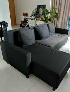 L shape Sofa bed c/w storage 9/10 condition