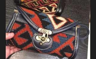 🈹S&U 土耳其古布皮袋 人手真皮製 民族袋 牛皮 古布 vintage