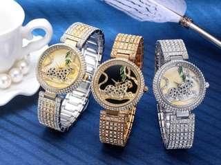 Lady Leopard Rhinestones Crystals Diamond Elegant Watch( Preorder)