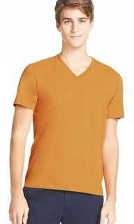 Uniqlo Color V-neck Short Sleeve T-shirt Yellow Mustard8
